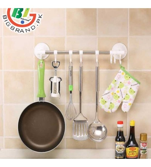 Strong Suction Wall 6 Hook Bathroom Kitchen Rack