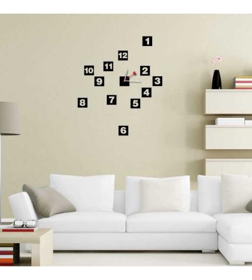 Box Numbers 3D Sticker Wall Clock