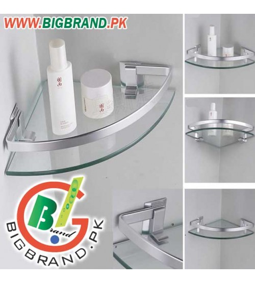 Single Layer Glass Bathroom Corner Rack